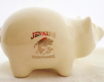 Vintage, Ceramic, Piggy Bank, Jenkins, Minnesota, Fishing, Souvenir, W C Bunting Co,  Wellsville Ohio