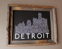 Detroit Skyline Word Art Print (Black) - Unframed