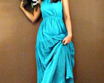 Sexy....Sexy Blue  Maxi cotton Dress (001)