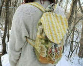 SunBeams~up-cycled BACKPACK~ drawstring, patchwork, lined with LOVE