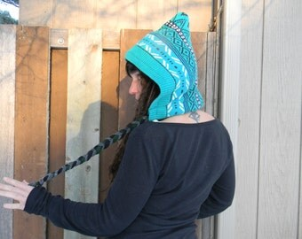 MintyMind-pointed Up-cycled HOOD-fleece lined-felt tassels-Unisex-reversable