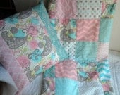 Pink and Turquoise Baby Quilt and Pillow, Cottage Chic Nursery Bedding, Baby Girl Nursery Quilt with Matching Pillow