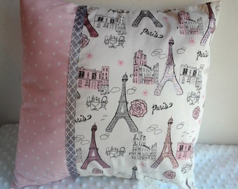 Paris Nursery Pillow, Paris Nursery Bedding, Pink and Gray Nursery Pillow, Pink and Gray Paris Baby Pillow, Paris Themed Kid's Room Pillow