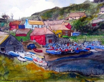 Cadgwith Cove Cornwall Giclee Print of  Watercolour and Ink Painting on Watercolour Paper