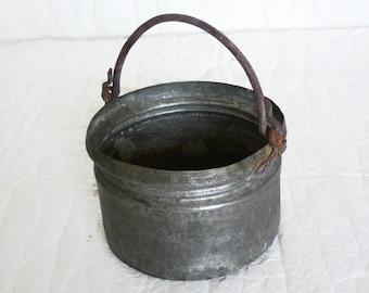 Vintage copper cauldron, tin plated pail pot, iron handle. Bucket, rustic home decor, Farmhouse, ranch display, planter, primitive antiques