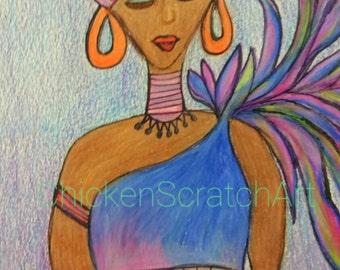 Caribbean Basket Artist Original Artwork pastels