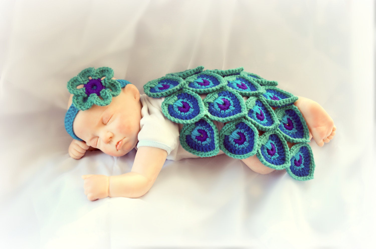 Pattern crochet baby peacock cape and headband costume photo zoom bankloansurffo Gallery