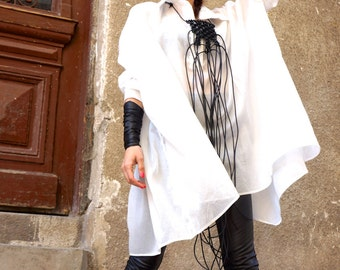 New Collection SS White  Loose  Shirt / Asymmetric shirt / Long Sleeves  Party Tunic by AAKASHA A11208