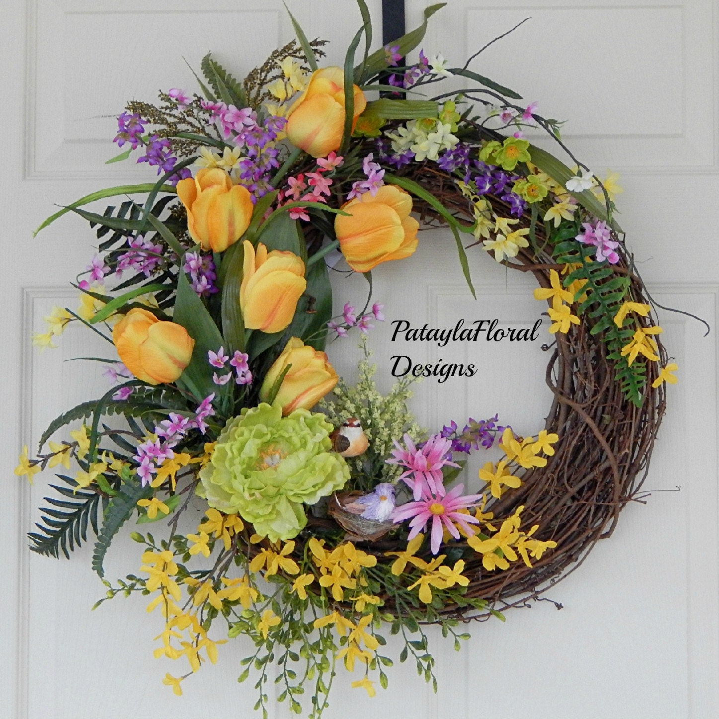 Xl Forsythia Wreath Yellow Tulips Spring And Summer