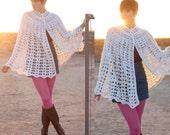 Vintage 60s Boho Crochet Poncho - Hippie Crochet Cape - Gypsy Crochet Ivory Wrap - Off White Festival Poncho - Cream Shawl