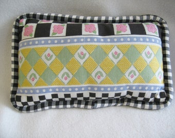 Cute Vintage Style Country Floral & Gingham Throw Pillow with Piping 12 x 8 NEW!