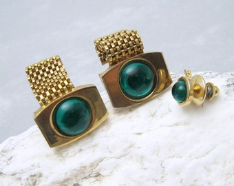 Vintage Mesh Wraparound Cufflinks Tie Tack Set Green Cuff Links H668