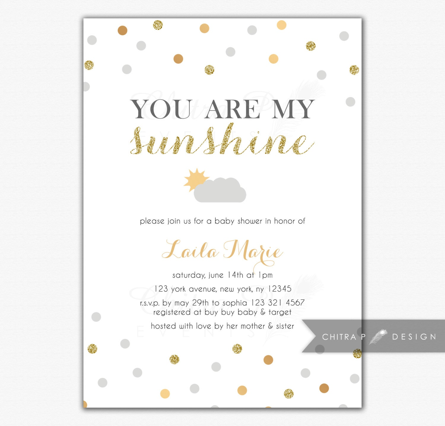 you are my sunshine baby shower invitation printed or by chitrap