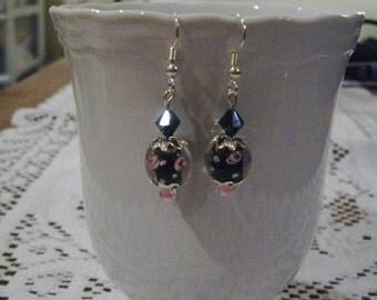 Black Flower Earrings