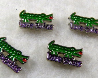 "Green Alligator or Crocodile ""Love Bites"" Floating Charm"