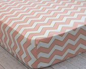 Chevron Fitted Crib Sheet, Pink and Gold Crib Sheet, Baby Girl Bedding