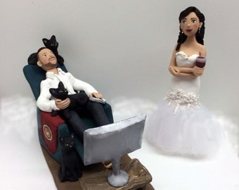 Customized Bride and Groom Wedding Cake Topper * Game Over *  From your Photos and Ideas * Completely Handmade and Personalized