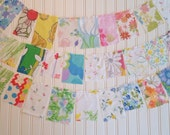 4 Foot Fabric Scrap Bunting, Vintage Linen Bunting, Shabby Chic Bunting, Gypsy Flags, Prayer Flags, Garland, Bunting, Banner, 010