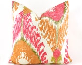 Pillow Covers ANY SIZE Decorative Pillow Cover Designer Pillow Orange Pillow Ikat Pillow Richloom Chimayo Linen Blend Ikat Coral Reef