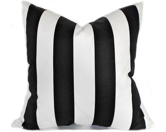 Outdoor Pillows Outdoor Pillow Covers Decorative Pillows ANY SIZE Pillow Cover Premier Prints Outdoor Vertical Black and White