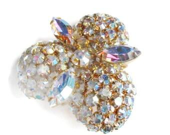 1950s Aurora Borealis rhinestone brooch AB pin vintage jewelry