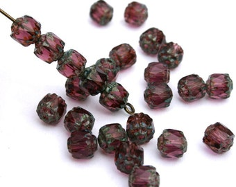 6 mm Czech Amethyst Cathedral/Barrel Beads with Stone Ends
