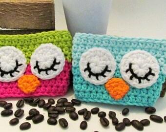 Owl Coffee Cozy, Crochet Cup Sleeve, Travel Cup Cozie, Cup Wrap, Tea Cozy, Eco Friendly Cup Protector, Reusable Cup Cozy, Cotton Cozy