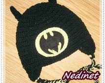Crochet Pattern - Batman Superhero crochet hat, birthday mask, costume PATTERN PDF black