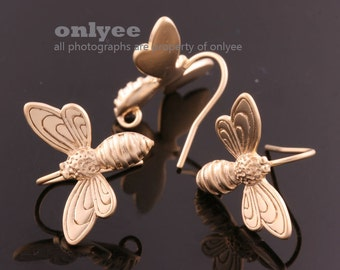 1pair/2pcs-18mmX13mm Matte Gold plated Brass Honey Bee Hook Ear Wires Earrings(K840G)