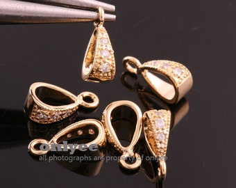 4pcs-10mmX3.5mmBright Gold plated Brass Cubic zirconia Pendant Clasp,Bail Connector(K819G)