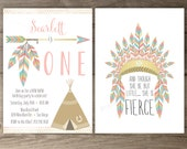 Pow wow Birthday Party Invitations •ONE • arrows feathers headdress tribal native teepee • pink and gold • printable