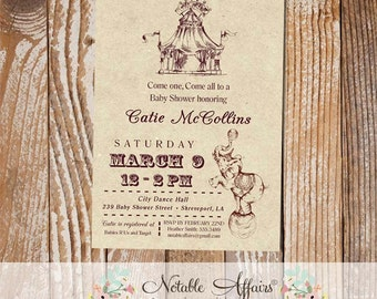 Vintage Circus Baby Shower invitation - Come One Come All - Circus Elephant Baby Shower Party invite - choose your own wording as needed