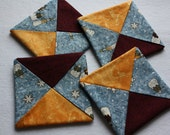 Folded Fabric Coasters ; Mug Rugs ; Candle Mats ; Home Décor ; Snowman Coasters ; Winter Decorating