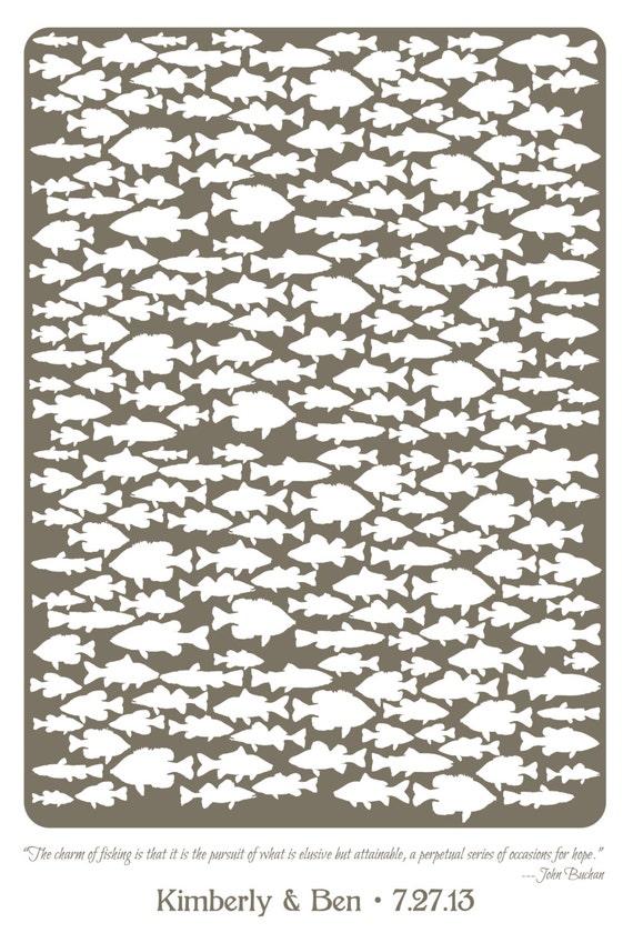 Custom Freshwater Fish Wedding Guest Book Poster Custom