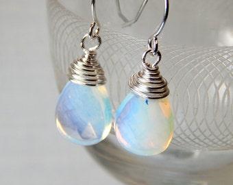 Opalite Dangle Earrings, Silver Earrings, Drop Earrings, Bridesmaids Earrings, Wedding Jewelry, Gift Ideas
