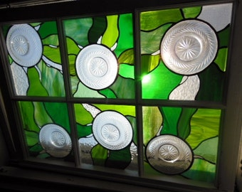 stained glass window vintage crystal plates sun catcher stained glass window green glass window vintage plates offers considered