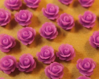 30 pc. Frosted Deep Lilac Glossy Rose Cabochon 10mm | RES-407