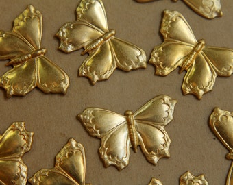 2 pc. Large Raw Brass Butterflies: 38mm by 26mm - made in USA | RB-401