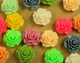 CLOSEOUT - 20 pc. Multi-Colored Crisp Petal Rose Cabochons 18mm   RES-423