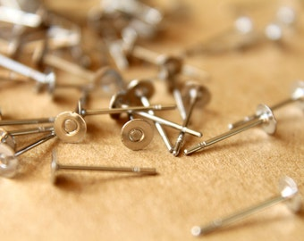 100 pc. Stainless Steel Earring Posts, 4mm pad | FI-129