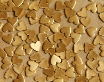 30 pc. Tiny Raw Brass Heart: 7mm by 6.5mm - made in USA | RB-513