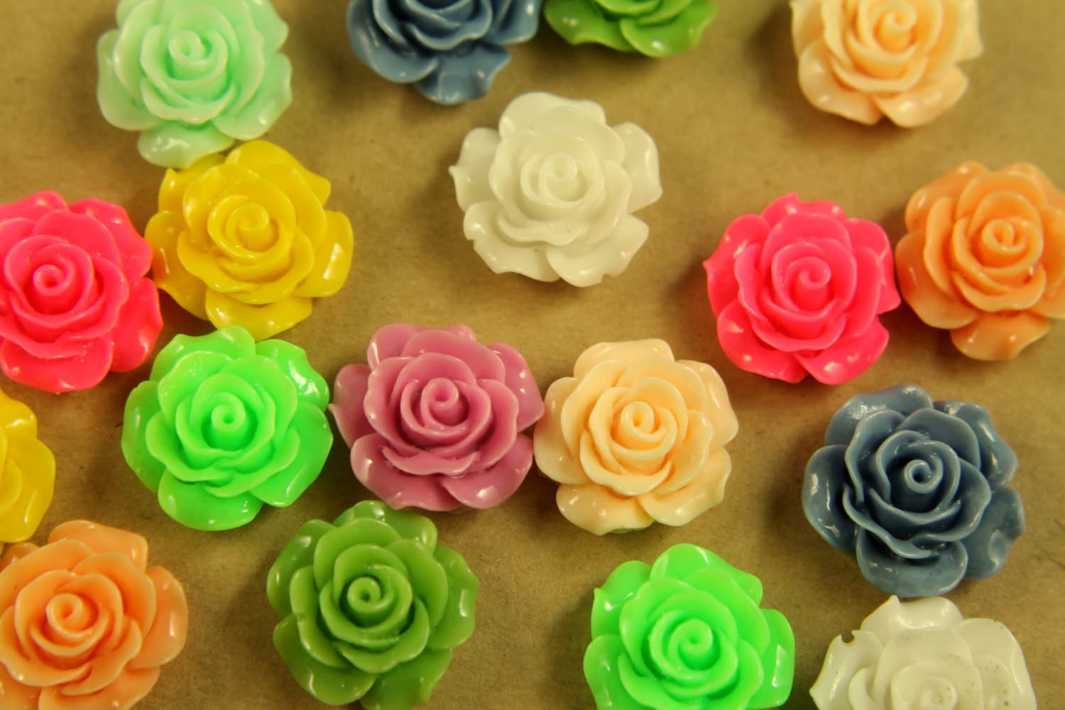 Closeout 20 pc multi colored crisp petal rose cabochons for Multi colored rose petals
