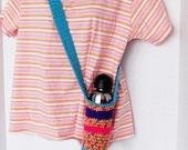 Water Bottle Holder Cross-body Strap Handmade Crochet Sturdy Insulating Bottle Cozy Hands Free Machine Wash & Dry