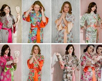 Set of 4 custom lined Angel Sleeve robes with pockets. Long bridal party robes, long bridesmaids robes, long bridal robe.