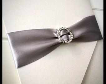 Silver Wedding invitation, white and silver wedding invitation, pocketfold wedding invitations with rhinestone buckle