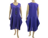 Boho linen maxi balloon dress, linen tank dress, pinafore summer linen dress in purple / lagenlook for plus size women L-XL US size 16-18/20