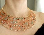 Statement Necklace Bib, Copper Necklace, Beaded Jewelry Handmade, Copper Jewelry Wire Crochet