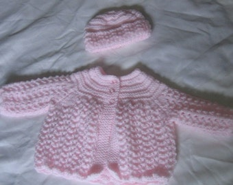 Bubble Pink Premmie Knitted Jacket and hat set - PREM