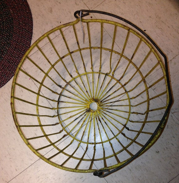 Vintage Heavy Wire Mesh Egg Basket with Carrying Handle - Painted Yellow