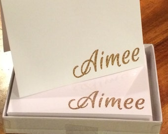 Glittery Name Note Cards